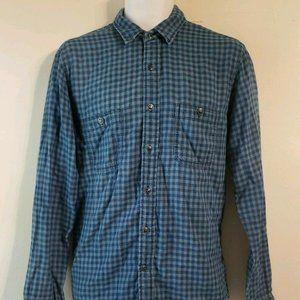 Faherty 100% Cotton Blue Plaid Metal Button L/S